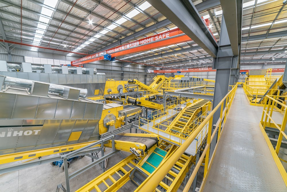 Inside BINGO's second Materials Processing Centre (MPC) at the Eastern Creek Recycling Ecology Park.