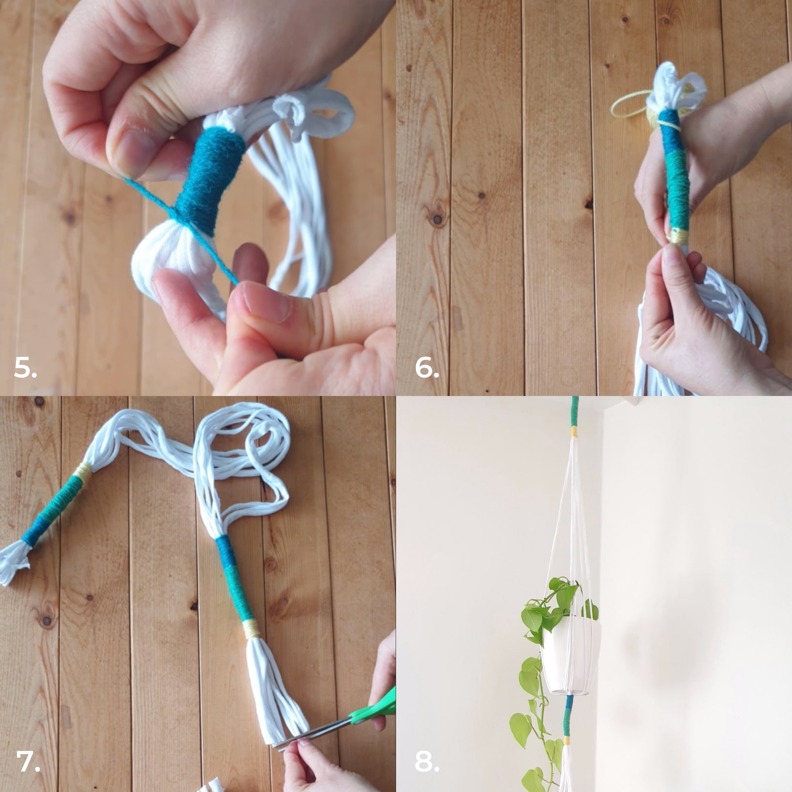 Upcycled T-shirt plant hanger second steps