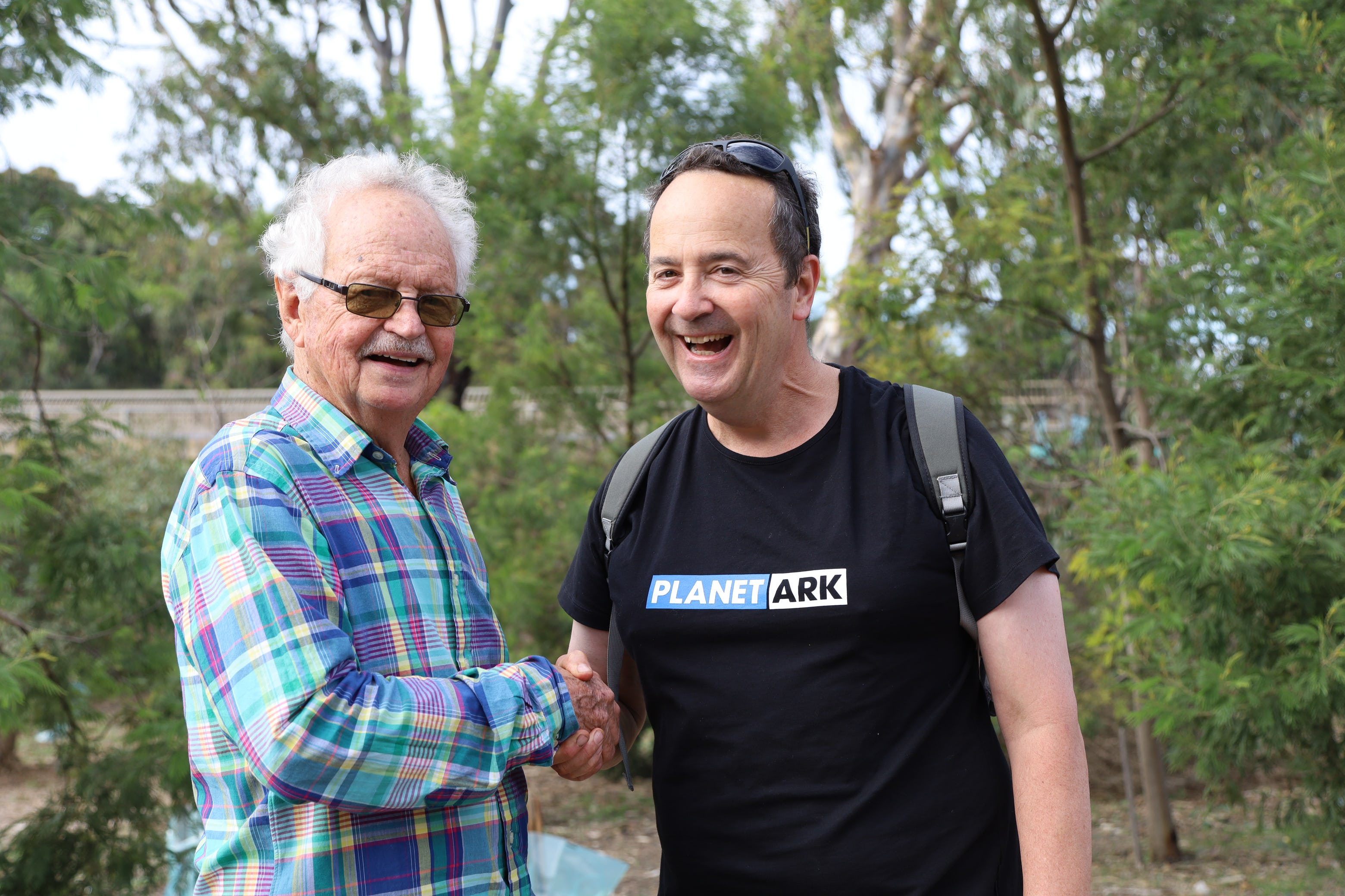 Geoff Mitchelmore with Planet Ark's Head of Research Dr Sean O'Malley at the 20th anniversary.