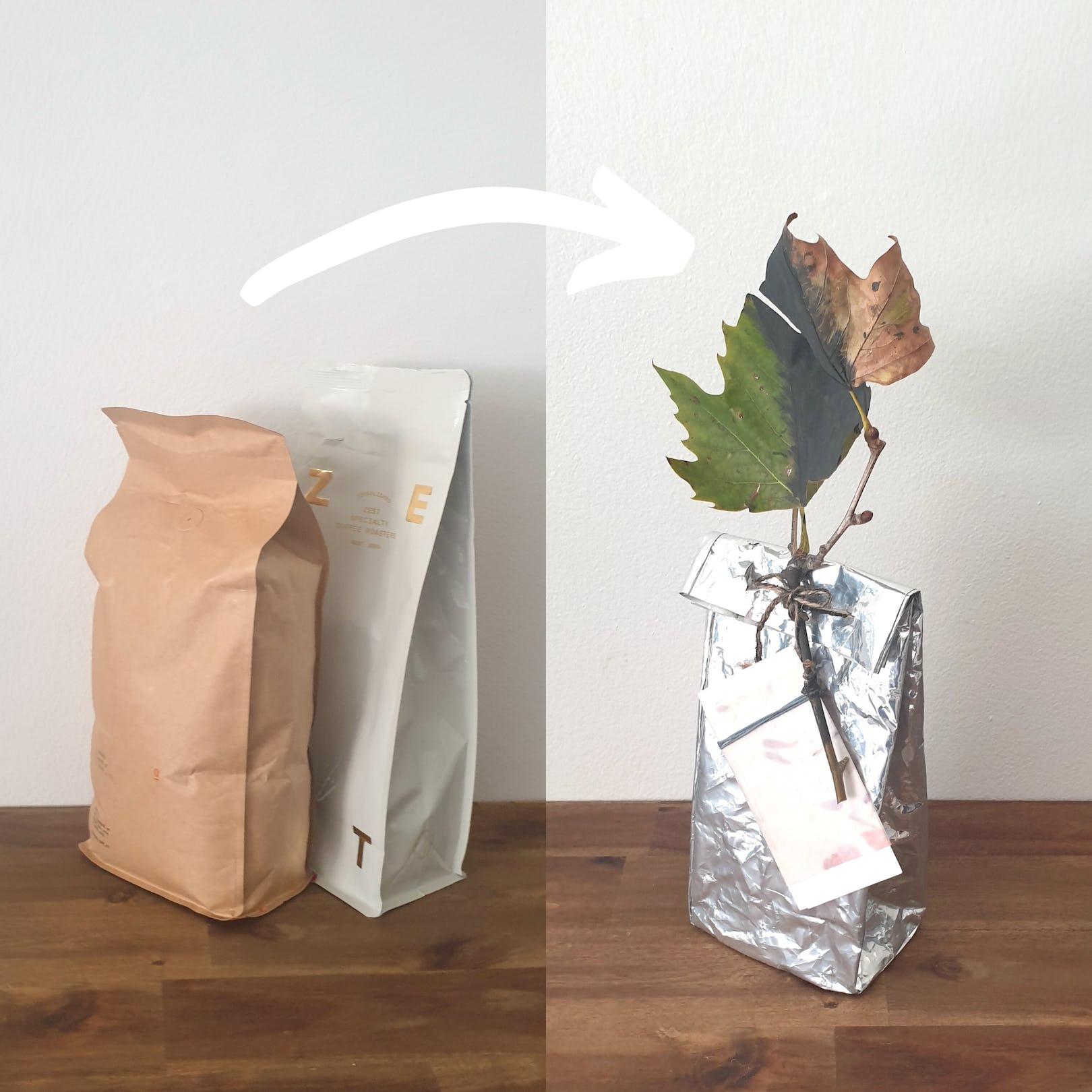 Upcycled coffee bag into gift bag