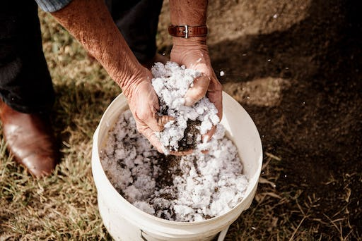 Processed cotton from used textiles ready to be applied to soil. Image: Cotton Australia