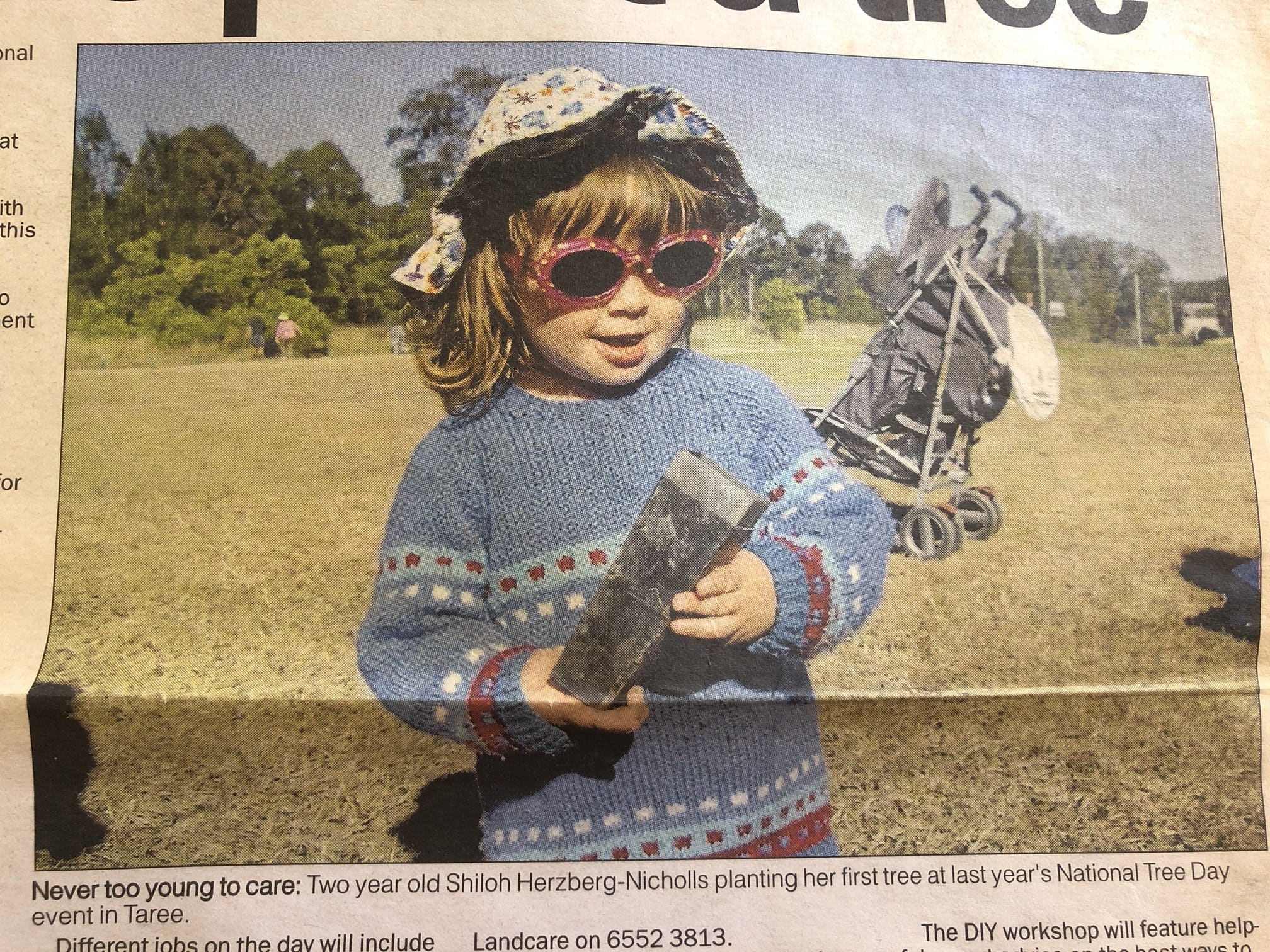 Shiloh at her first National Tree Day event on the front cover of Manning River Times.